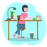 Concetto dell'area di lavoro con i dispositivi Studentessa nel luogo di lavoro con una tavola del grafico Donna, donna di affari, royalty illustrazione gratis