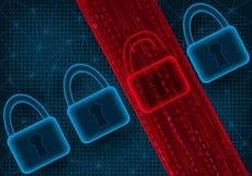 Concetto dell'attacco cyber e della perdita di dati illustrazione vettoriale