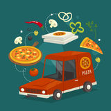 Concetto dell'automobile di consegna della pizza con alimento, illustrazione del fumetto di vettore, consegna degli alimenti a ra Fotografia Stock