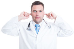 Concetto dell'erba medica o di medico maschio che fa gesto sordo fotografia stock
