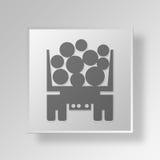 concetto dell'icona del bottone del camion della registrazione 3D Immagini Stock