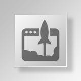 concetto dell'icona del bottone del lancio 3D Fotografia Stock