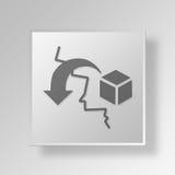 concetto dell'icona del bottone delle merci di importazione 3D Fotografia Stock Libera da Diritti