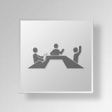 concetto dell'icona del bottone di riunione 3D Fotografie Stock Libere da Diritti