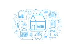 Concetto dell'icona del profilo della casa del bene immobile Immagini Stock