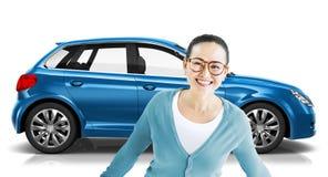 Concetto dell'illustrazione del trasporto 3D della berlina del veicolo dell'automobile Fotografie Stock