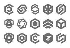 Concetto dell'illustrazione di vettore del logo di pentagono Icona su priorità bassa bianca illustrazione vettoriale