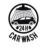 Concetto dell'illustrazione di vettore per l'automobile che lava servizio Il nero su fondo bianco illustrazione vettoriale