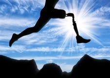 Concetto dell'inabilità, gamba prostetica fotografia stock