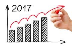 Concetto 2017 dell'indicatore del grafico di crescita Immagini Stock Libere da Diritti