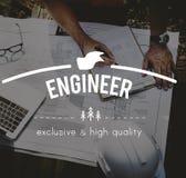 Concetto dell'innovazione di Engineering Mechanical Machinery dell'ingegnere Immagini Stock