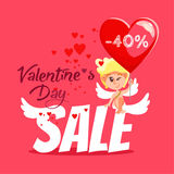 Concetto dell'insegna di vendita di San Valentino con il cupido sveglio del fumetto Immagini Stock