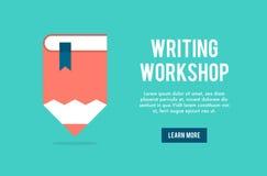 Concetto dell'insegna per la scrittura dell'officina illustrazione vettoriale