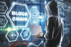 Concetto dell'interfaccia di Blockchain Fotografia Stock