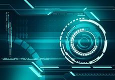 Concetto dell'interfaccia di HUD di tecnologia di immagine di Digital con micr del circuito Fotografia Stock