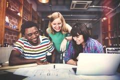 Concetto dell'interno di Teamwork Brainstorming Planning del progettista Fotografia Stock Libera da Diritti