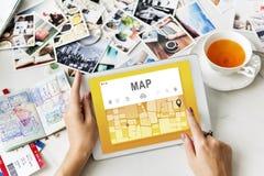Concetto dell'itinerario della destinazione di direzione di navigazione di GPS della mappa Immagine Stock Libera da Diritti