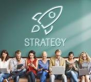 Concetto dell'obiettivo di Rocketship di scopi di affari Immagine Stock Libera da Diritti
