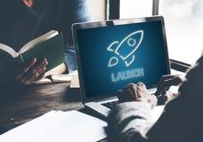 Concetto dell'obiettivo di Rocketship di scopi di affari Fotografia Stock