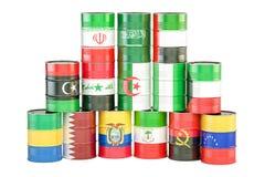 Concetto dell'OPEC, barili da olio con le bandiere rappresentazione 3d Fotografia Stock Libera da Diritti