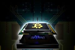 Concetto dell'oro B di Bitcoin sul chip di computer del CPU Fotografie Stock