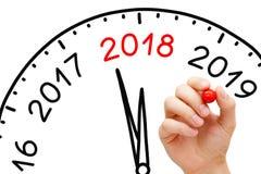 Concetto dell'orologio del nuovo anno 2018 immagine stock