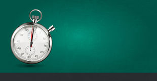 Concetto dell'ultimo minuto - cronometro su fondo verde Immagine Stock