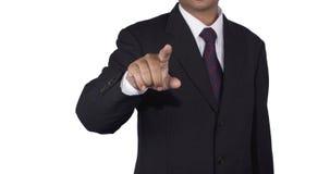 Concetto dell'uomo d'affari che spinge lo spazio in bianco di tocco Fotografie Stock