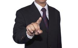 Concetto dell'uomo d'affari che spinge lo spazio in bianco di tocco con fondo bianco Immagini Stock