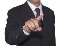 Concetto dell'uomo d'affari che spinge lo spazio in bianco di tocco con fondo bianco isolato Fotografia Stock Libera da Diritti