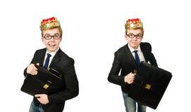 Concetto dell'uomo d'affari di re con la corona fotografia stock libera da diritti