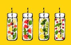 Concetto della bevanda di estate Ingredienti per limonata Frutta fresca e Fotografia Stock