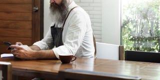 Concetto della bevanda di informazioni del collegamento del caffè fotografia stock