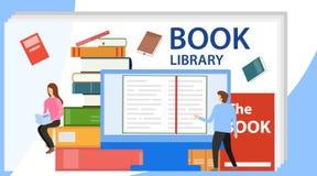 Concetto della biblioteca del libro di media Illustrazione di vettore della biblioteca online Libro elettronico, leggente un libr illustrazione vettoriale