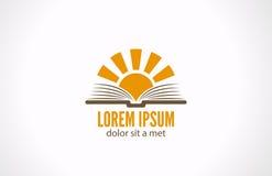 Concetto della biblioteca della e-lettura di conoscenza. Logo Sun più illustrazione di stock