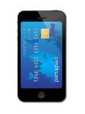 Concetto della carta di credito del telefono mobile Fotografie Stock