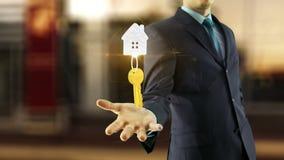 Concetto della casa di chiavi dell'uomo di affari nuovo illustrazione di stock