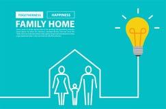 Concetto della casa di famiglia con l'idea creativa della lampadina Immagini Stock