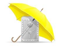 Concetto della cassaforte protetta ed assicurata con il vettore dell'ombrello dei soldi Fotografie Stock Libere da Diritti