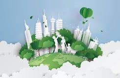 Concetto della città verde con la famiglia illustrazione vettoriale