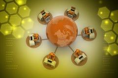 Concetto della comunicazione commerciale globale Immagini Stock Libere da Diritti