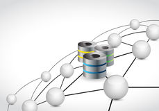 concetto della connessione di rete della sfera di collegamento dei server Fotografia Stock