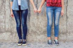 Concetto della console di comodità della gente delle lesbiche di aiuto Chiuda sulla foto di fotografia stock
