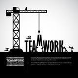 Concetto della costruzione di lavoro di squadra di progettazione, illustrazione di vettore Fotografia Stock Libera da Diritti