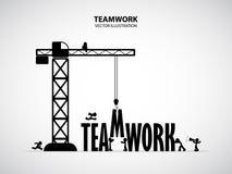 Concetto della costruzione di lavoro di squadra di progettazione, illustrazione di vettore Fotografie Stock