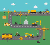 Concetto della costruzione di strade Fotografia Stock