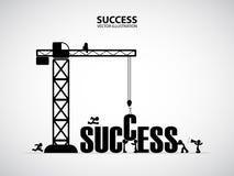 Concetto della costruzione di successo di progettazione, illustrazione di vettore Fotografia Stock