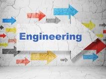Concetto della costruzione: freccia con ingegneria sul fondo della parete di lerciume illustrazione vettoriale