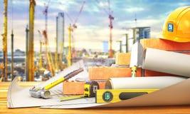 Concetto della costruzione Parte del muro di mattoni nel processo della costruzione Fotografie Stock