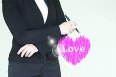 Concetto della donna di amore la ragazza è un cuore Fotografia Stock Libera da Diritti